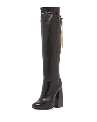 Stacked-Heel Knee Boot with Chain, Black