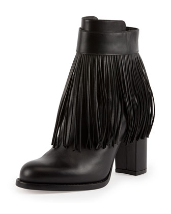 Fringe Leather Ankle Boot, Nero