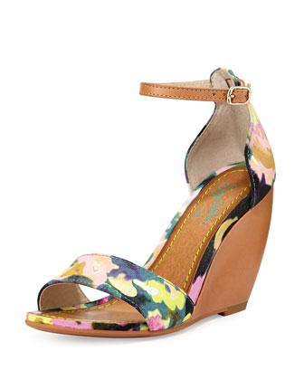 Thyme Floral-Print Wedge Sandal