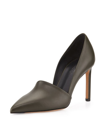 Cosette Leather Point-Toe Pump, Military