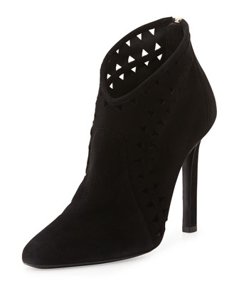 Laser-Cut Suede Ankle Boot, Black