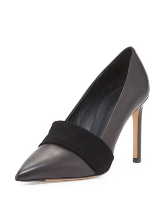 Carmel Leather Suede-Band Pump, Black