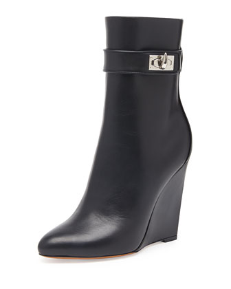 Shark Lock Wedge Ankle Boot, Black