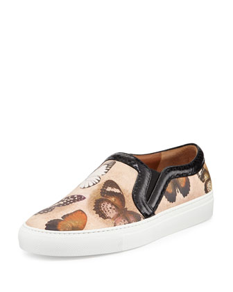 Butterfly-Print Leather Skate Shoe