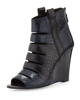 Sonny Embossed Wedge Bootie