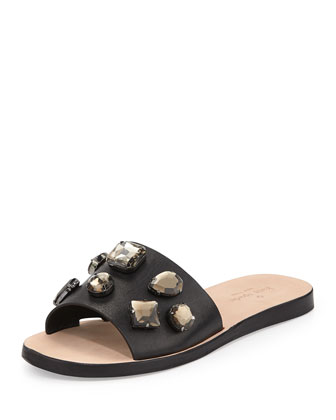 avila jeweled slide sandal, black