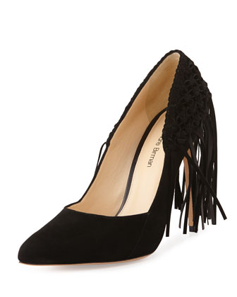 Suede Mesh Fringe Point-Toe Pump, Black