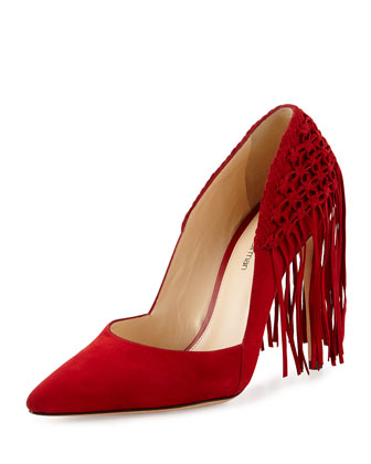 Suede Mesh Fringe Point-Toe Pump, Scarlet