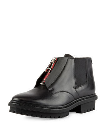 Zip-Front Leather Ranger Boot, Noir