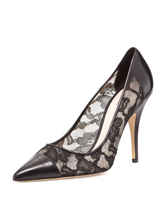 liberty lace point-toe pump, black