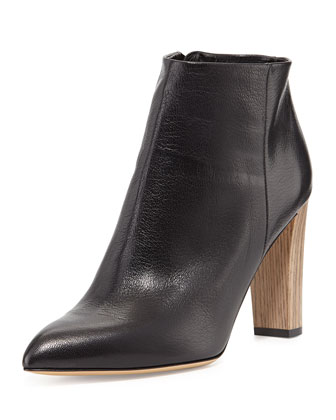 nita leather ankle boot, black