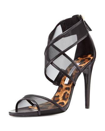 Jules Mesh Crisscross Sandal, Black
