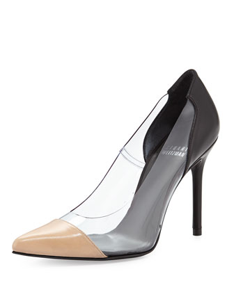 Onview PVC/Leather Pointed-Toe Pump, Black/Adobe