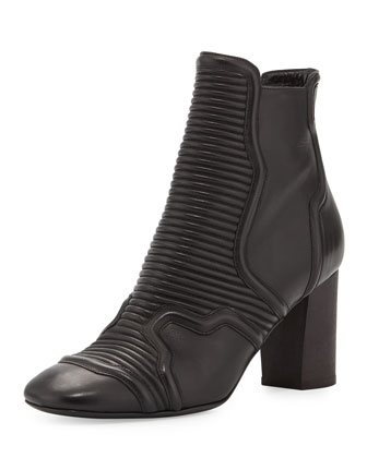 Ribbed Leather Biker Low Boot, Black