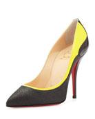 Tucsy Glitter & Patent Red Sole Pump, Black/Yellow