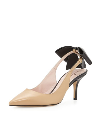 jax bow slingback pump, natural