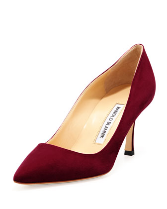 BB Suede 70mm Pump, Claret (Made to Order)