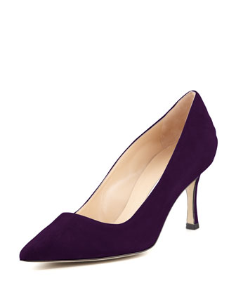 BB Suede 70mm Pump, Plum (Made to Order)