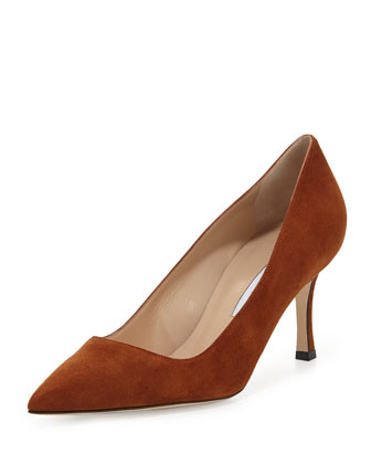 BB Suede 70mm Pump, Cognac (Made to Order)