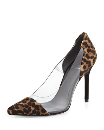 Onview PVC/Calf Hair Pointed-Toe Pump, Chocolate Feline