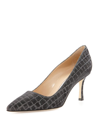 BB Metallic Croc-Print 70mm Pump, Anthracite (Made to Order)