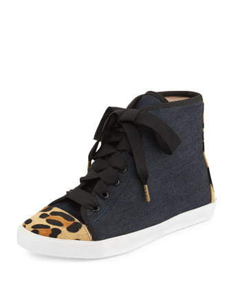 linus denim & calf hair high-top sneaker