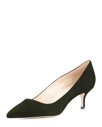 BB Suede 50mm Pump, Loden (Made to Order)
