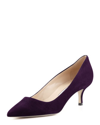 BB Suede 50mm Pump, Plum (Made to Order)