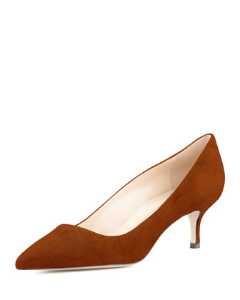 BB Suede 50mm Pump, Cognac (Made to Order)