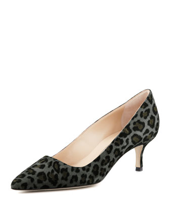 BB Suede 50mm Pump, Gray Leopard (Made to Order)