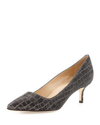 BB Metallic Croc-Print 50mm Pump, Anthracite (Made to Order)