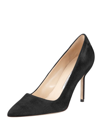 BB Suede 90mm Pump, Charcoal (Made to Order)