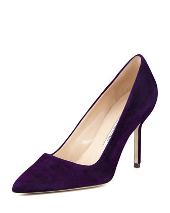 BB Suede 90mm Pump, Plum (Made to Order)