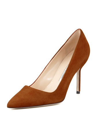BB Suede 90mm Pump, Cognac (Made to Order)