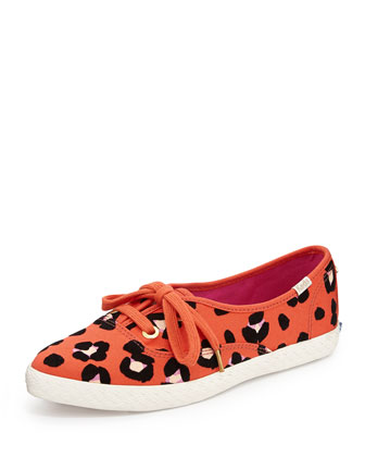 Keds leopard-print canvas pointer sneaker, cyber orange