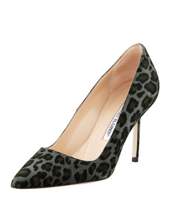 BB Suede 90mm Pump, Gray Leopard (Made to Order)