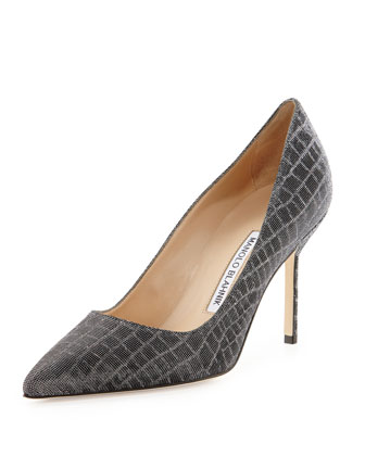 BB Metallic Croc-Print Fabric 90mm Pump, Anthracite (Made to Order)