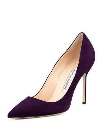 BB Suede 105mm Pump, Plum (Made to Order)