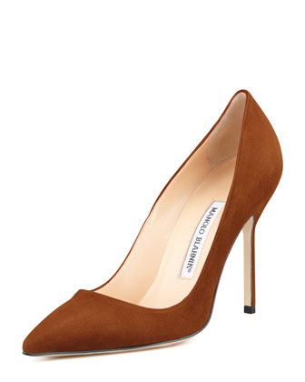 BB Suede 105mm Pump, Cognac (Made to Order)