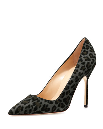 BB Suede 105mm Pump, Gray Leopard (Made to Order)