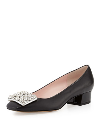 mixer crystal embellished pump, black
