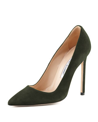 BB Suede 115mm Pump, Loden (Made to Order)