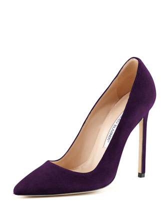 BB Suede 115mm Pump, Plum (Made to Order)