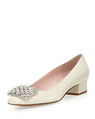 mixer crystal embellished pump, cream