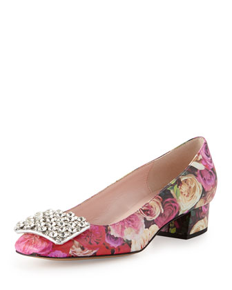 mixer crystal buckle pump, floral