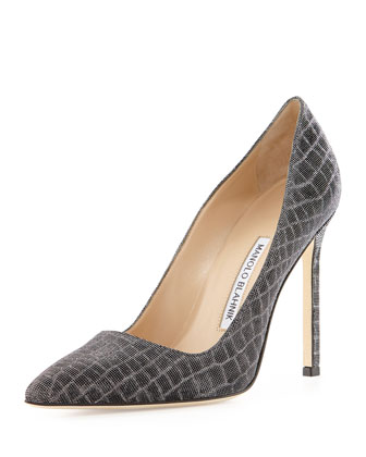 BB Metallic Croc-Print 115mm Pump, Anthracite (Made to Order)