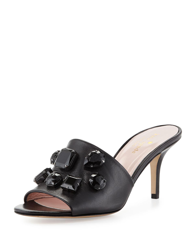 sadie crystal slide sandal, black   kate spade new york   Black (36.0B/6.0B)