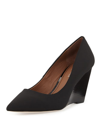 Trance Crepe Wedge Pump, Black