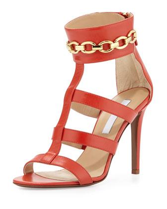 Uma Chain-Link Sandal, Cayenne Red