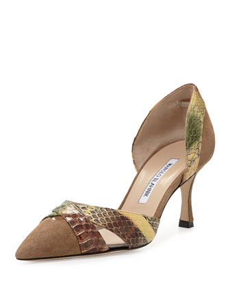 Crux Suede & Snakeskin d'Orsay Pump, Taupe/Brown/Green